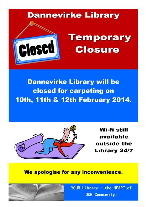 Poster - Dannevirke Library - temporary closure - carpet laying