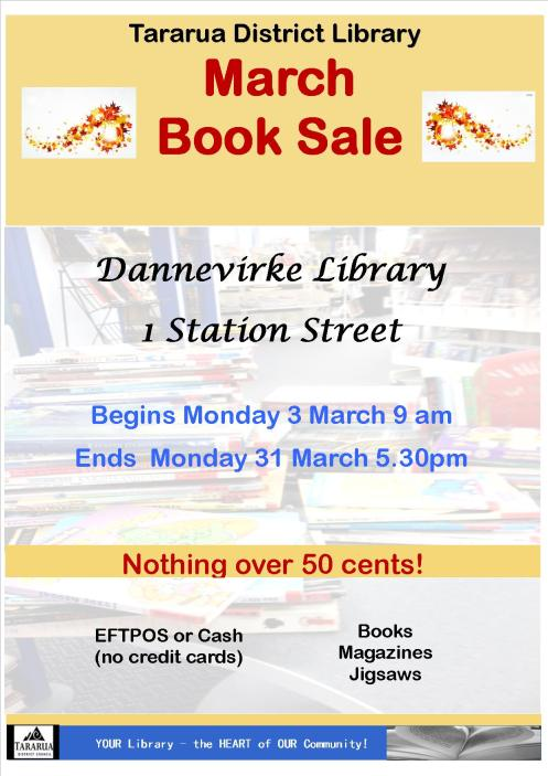 Poster Tararua District Library Book Sale March 2014