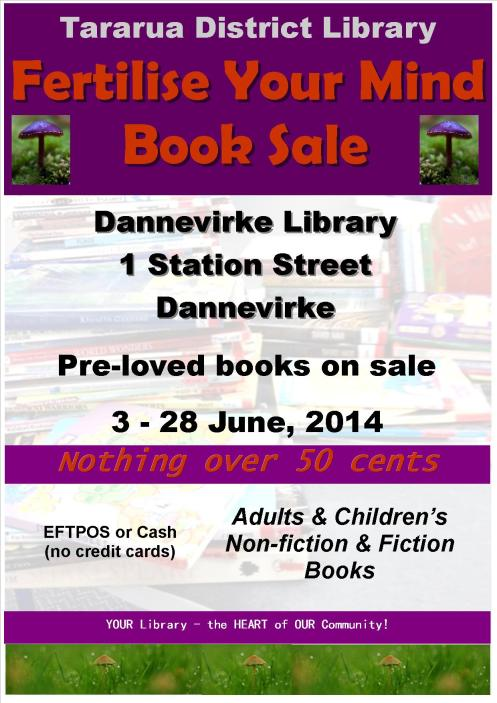 Poster - Dannevirke Library Book Sale June 2014