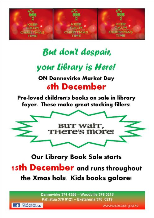 Poster - Dannevirke Library - Book Sale Christmas 2014