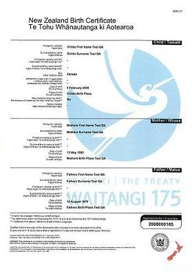 Waitangi 175 commemorative certificate example