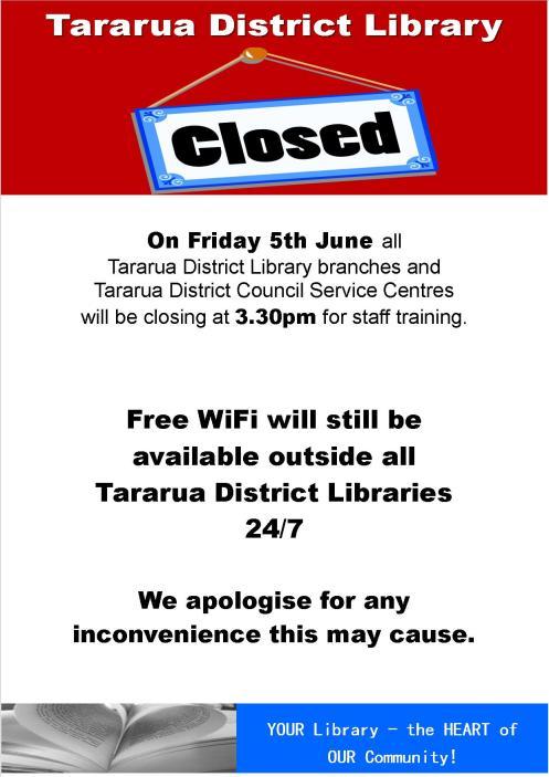 Closing early 5 June