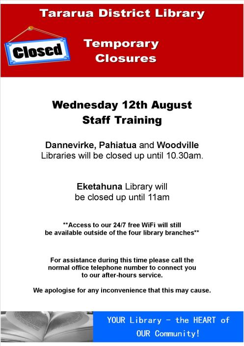 Library Temporary Closures - 12 August 2015