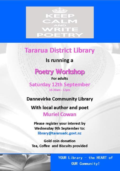 Flyer - Tararua District Library - Poetry Workshop - 2015 jpeg