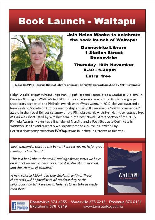 Poster - Tararua District Library - Book Launch Dannevirke Library - Helen Waaka jpeg