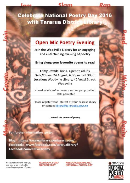 Poster - Tararua District Library - Phantom Stickers National Poetry Day Open Mic Poetry Evening at Woodville Library - August 2016